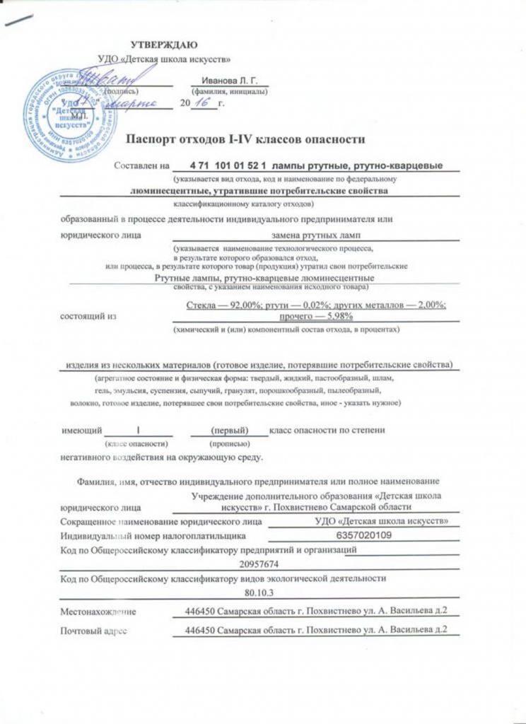 Паспорт отходов для 1-4 класса отходов