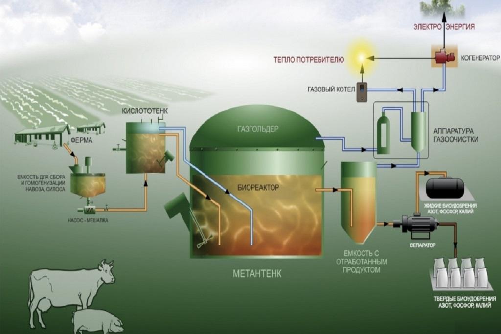 Схема производства биогаза