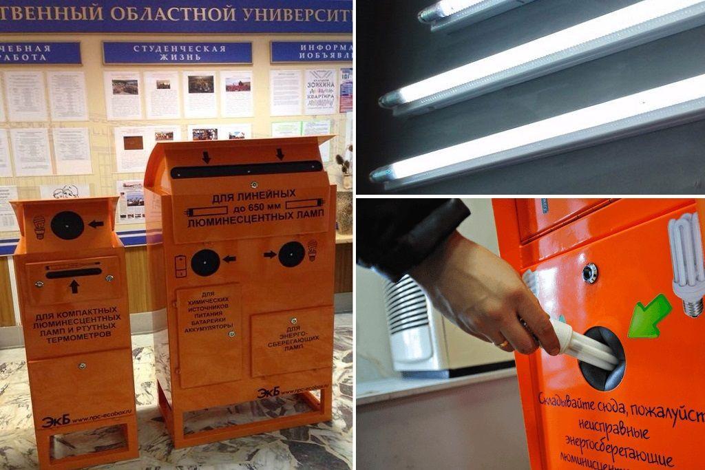Вынос люминесцентных ламп в контейнеры, экобоксы, экотерминалы